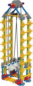 An elevator uses pulleys